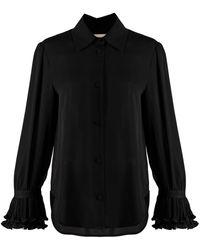 Khaite Mary ボタン シルクシャツ - ブラック