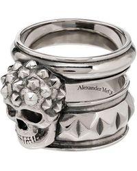 Alexander McQueen Ring Met Doodskop - Metallic