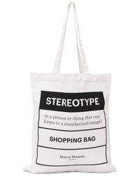 Maison Margiela Shopper mit Print - Weiß