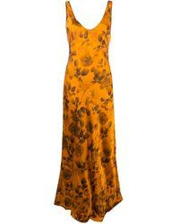 Galvan London Платье Valetta С Цветочным Принтом - Оранжевый