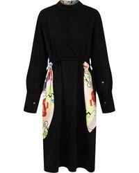 PORTSPURE スカーフディテール ドレス - ブラック