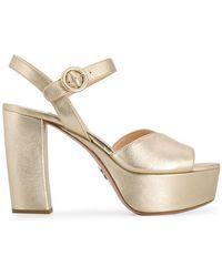 Prada Heeled Platform Sandals - Metallic