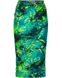 Versace Юбка С Присборенной Талией И Принтом Jungle - Зеленый