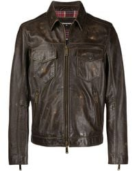 DSquared² Worn-out Effect Jacket - Brown