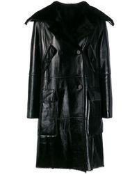 Yves Salomon Двубортное Пальто - Черный