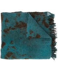 Suzusan Abstract Pattern Knitted Scarf - Green