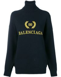 Balenciaga Свитер С Высокой Горловиной И Вышивкой Логотипа - Черный