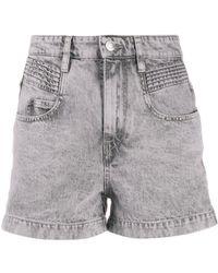 Étoile Isabel Marant Hiana high-rise denim shorts - Morado