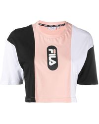Fila Футболка С Логотипом И Вставками - Розовый