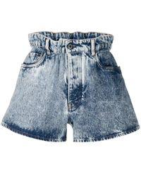 Miu Miu Acid Wash Denim Shorts - Blue
