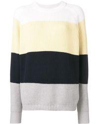 6397 Striped Round Neck Jumper - Yellow