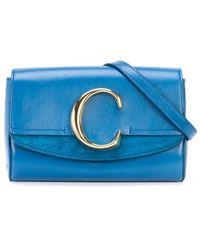 Chloé Поясная Сумка С Металлическим Логотипом - Синий
