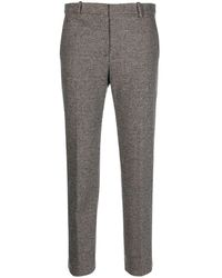 Theory Check-print Cropped Trousers - Brown