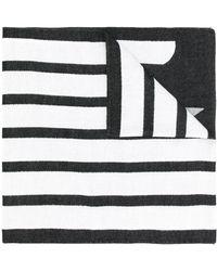 Emporio Armani ロゴ ストライプ スカーフ - ホワイト
