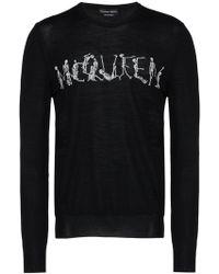 Alexander McQueen Dancing Skeleton wool crew neck sweater - Nero