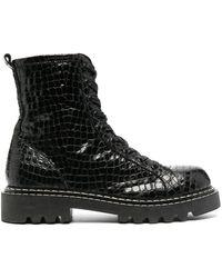 Just Cavalli クロコパターン ブーツ - ブラック