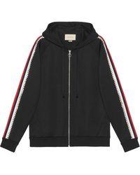 Gucci Black Crystal Stripe Zipped Sweatshirt - Zwart