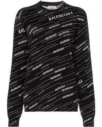 Balenciaga Logo Crewneck Jumper - Black