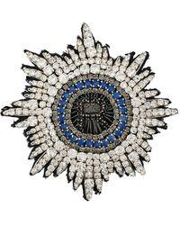Rochas Broche con detalles de cristal con logo R - Blanco