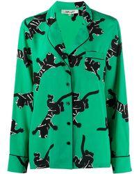 Diane von Furstenberg グラフィック シルクシャツ - グリーン
