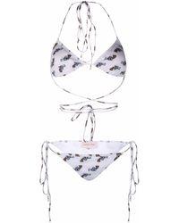 Natasha Zinko Pistol-print Triangle Bikini - White