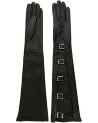 Manokhi Buckled Long Gloves - Black