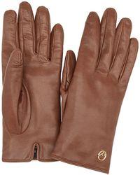 Fendi Leather Logo Gloves - Brown