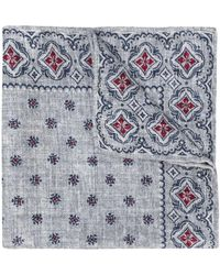 Brunello Cucinelli Embroidered Silk Pocket-square - Grey