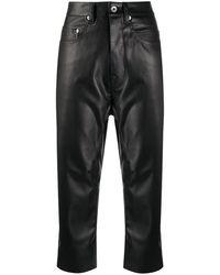 Rick Owens DRKSHDW アニマルフリーレザー クロップドパンツ - ブラック