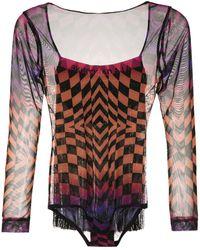 À La Garçonne Printed Finged Bodysuit - Multicolour