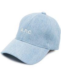 A.P.C. ロゴ キャップ - ブルー