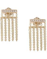 Sydney Evan - 14kt Gold And Diamond Bar Chain Earrings - Lyst