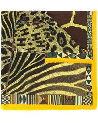 Hermès Pre-owned Mixed Animal Print Scarf - Yellow