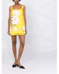 Valentino Jumpsuit aus Satin mit Print - Gelb