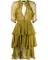 DSquared² Ruffle Tiered Short Dress - Green