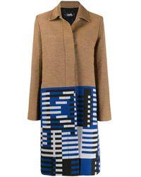 Karl Lagerfeld Жаккардовое Пальто С Узором - Синий