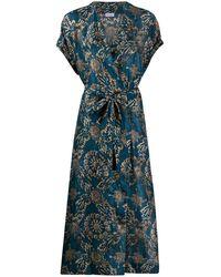 Brunello Cucinelli Silk Wrap-style Midi Dress - Blue