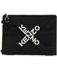 KENZO Logo-print Clutch - Black