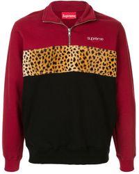 Supreme Leopard Panel Half Zip Sweatshirt 'fw 18' - Red