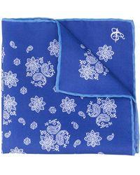 Canali Paisley Print Handkerchief - Blue