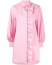 MSGM Платье-рубашка С Длинными Рукавами И Оборками - Розовый