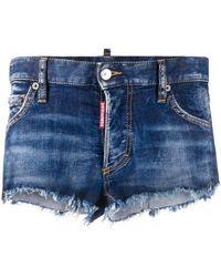 DSquared² Short en jean à bords francs - Bleu