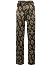 Bode Floral Pattern Jacquard Trousers - Brown