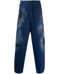 Yohji Yamamoto Stained Loose Fit Jeans - Blue