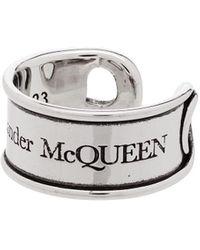 Alexander McQueen Gegraveerde Ring - Metallic
