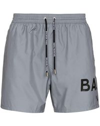 Balmain Logo-print Swim Shorts - Grey