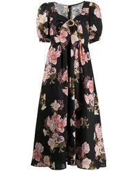 We Are Kindred Robe en lin Clara à fleurs - Noir