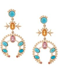 Marlo Laz - 14kt Gold Squash Blossom Orange Sapphire Small Hoop Earrings - Lyst