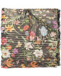 Gucci Floral Print Scarf - Metallic