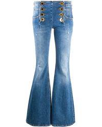 Balmain Faded Flare Jeans - Blue